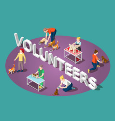 Animals volunteers isometric composition vector