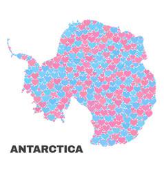 Antarctica continent map - mosaic of valentine vector