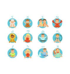 babies in twelve zodiac signs costumes sitting and vector image