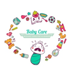 Baby Care frame vector