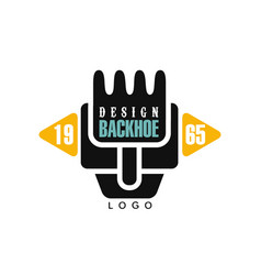 Backhoe logo design estd 1965 excavator vector