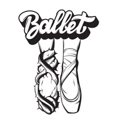 ballet handwritten lettering with hand drawn vector image