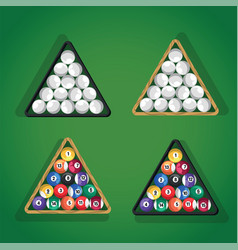 billiard balls in triangle on green pool table top vector image