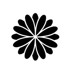 black silhouette flower formed by petals set vector image