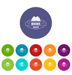 book shop icons set color vector image