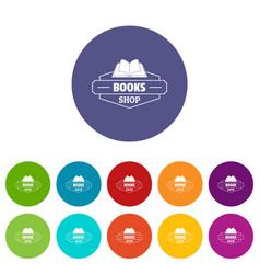 book shop icons set color vector image