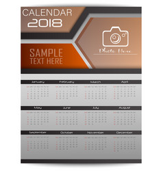 calendar for 2018 year design template with place vector image