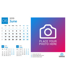 calendar for june 2019 design print template with vector image
