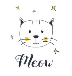Cat meow for t-shirt and print design vector