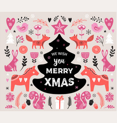 christmas banner design hand drawn vector image