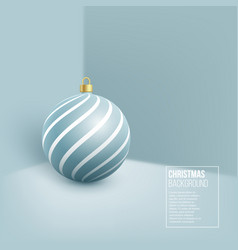 christmas blue bauble with geometric pattern 3d vector image
