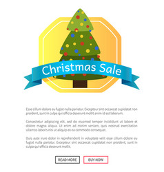 Christmas sale picture with pretty new year tree vector