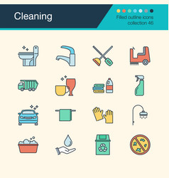 Cleaning icons filled outline design collection vector