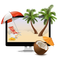 Computer with tropical resort vector