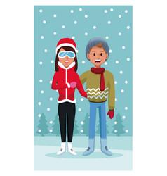 Couple in winter cartoon vector