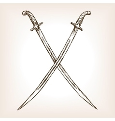 Crossed sabres hand drawn sketch style vector image
