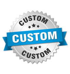 custom 3d silver badge with blue ribbon vector image