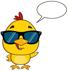 Cute yellow chick character wearing sunglasses vector