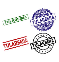 damaged textured tularemia seal stamps vector image