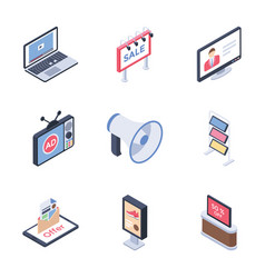 Digital advertising media channels icons pack vector