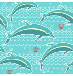 Dolphins seamless pattern blue sea background vector