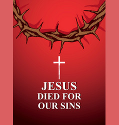 easter banner with crown of thorns and inscription vector image