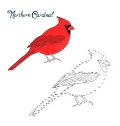 Educational game connect dots draw cardinal bird vector