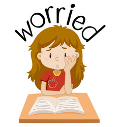 English vocabulary of girl worried vector