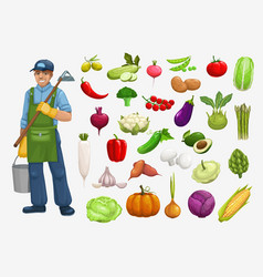 Farmer harvest vegetables garden agriculture icons vector
