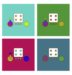 Flat icon design collection board game piece dice vector