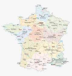france road administrative and political map vector image