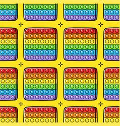 Funny pop it fidget sensory toy seamless pattern vector