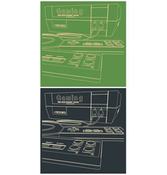 game console and joysticks closeup vector image