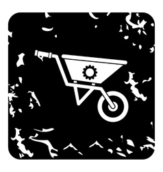 Gardening trolley icon grunge style vector