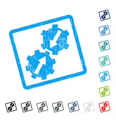 Gear integration icon rubber watermark vector