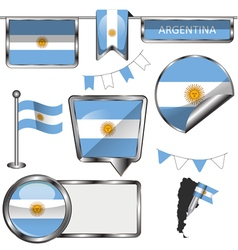 Glossy icons with Argentine flag vector