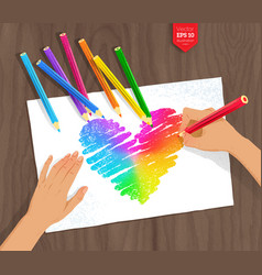 Hand drawing rainbow heart with color pencils vector