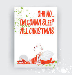 hand drawn christmas gift and invitation card with vector image