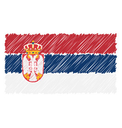 hand drawn national flag of serbia isolated on a vector image