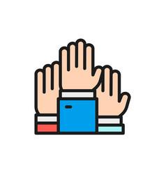 hands raised up election voting volunteer flat vector image