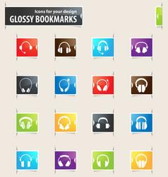 Headphones bookmark icons vector