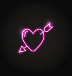 heart with arrow glowing pink neon sign vector image
