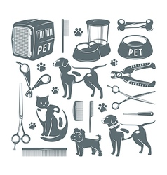 Icons set pet care items vector