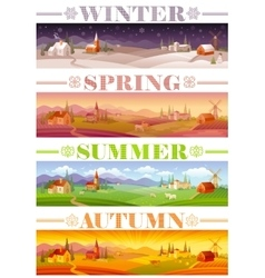 Idyllic farming landscape flayer design with text vector image
