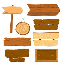Isolated wooden planks cartoon planked sign wood vector