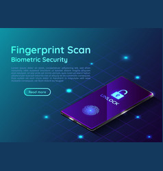 isometric smartphone with fingerprint scaning vector image