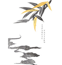 japanese background with bamboo leaf and cloud vector image