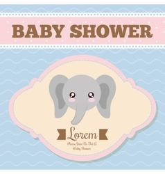 Kawaii elephant Baby Shower design vector