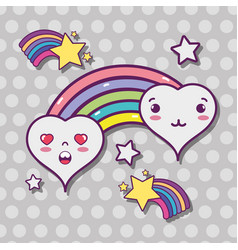 Kawaii hearts with rainbow and stars design vector