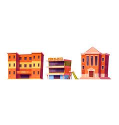 Kindergarten school and university buildings set vector